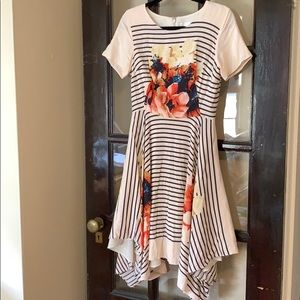 Anthro Corey Lynn Calter floral & striped dress